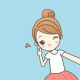 Karikaturmädchen selfie Lizenzfreie Stockfotos