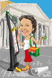 Karikaturmädchenarchitekt in Italien Lizenzfreie Stockfotos