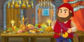 Karikaturmärchen mit zwergartigem Prinzen im Schloss durch die Tabelle voll der schauenden und lächelnden Nahrung vektor abbildung