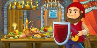 Karikaturmärchen mit zwergartigem Prinzen im Schloss durch die Tabelle voll der schauenden und lächelnden Nahrung stock abbildung