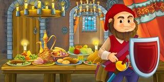 Karikaturmärchen mit zwergartigem Prinzen im Schloss durch die Tabelle voll der schauenden und lächelnden Nahrung lizenzfreie abbildung