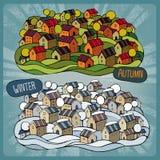 Karikaturmärchendorf in zwei Jahreszeiten Stockfoto