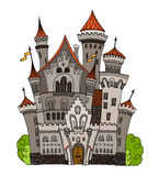 Karikaturmärchenschloss-Turmikone Nette Architektur Vektorillustrationsphantasie-Hausmärchen mittelalterlich Lizenzfreie Stockbilder