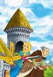 Karikaturmärchenszene mit Prinzessinfliegen auf dem Besenstiel mit der Hexe Stockbilder