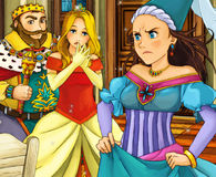 Karikaturmärchenszene - Prinz und Prinzessin Stockfotos
