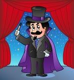 Karikaturmagier auf Zirkusstufe Stockfotos