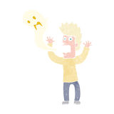 Karikaturmann besessen durch Geist Stockfotos