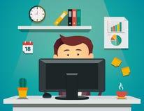 Karikaturmann, der auf Computer sitzt Innerhalb des Archivs können Sie Dateien in solchen Formaten finden: ENV, ai, Cdr, Jpg Stockfoto