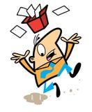 Karikaturmann, der auf Verschütten rutscht Lizenzfreies Stockbild