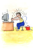 Karikaturmann, der Computerspiele spielt Lizenzfreie Stockfotografie