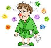 Karikaturmann, der krank und durch Viren umgeben ist stock abbildung
