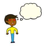Karikaturmann in der Liebe mit Gedankenblase Lizenzfreies Stockbild