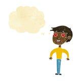 Karikaturmann in der Liebe mit Gedankenblase Stockfoto