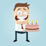 Karikaturmann, der mit einem großen Kuchen feiert Stockfotografie