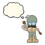 Karikaturmann, der mit Gedankenblase kifft Stockbilder
