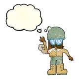 Karikaturmann, der mit Gedankenblase kifft Lizenzfreie Stockfotos