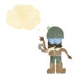 Karikaturmann, der mit Gedankenblase kifft Lizenzfreies Stockbild