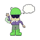 Karikaturmann, der mit Gedankenblase kifft Stockbild