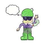 Karikaturmann, der mit Gedankenblase kifft Lizenzfreie Stockfotografie