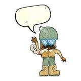 Karikaturmann, der mit Spracheblase kifft Lizenzfreies Stockbild