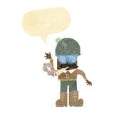 Karikaturmann, der mit Spracheblase kifft Stockfotos