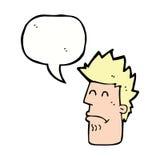 Karikaturmann, der mit Spracheblase krank sich fühlt Lizenzfreie Stockfotos