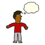 Karikaturmann, der Schultern mit Gedankenblase zuckt Stockfoto