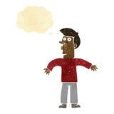 Karikaturmann, der Schultern mit Gedankenblase zuckt Stockfotografie