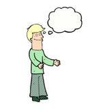 Karikaturmann, der Schultern mit Gedankenblase zuckt Stockbild