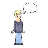 Karikaturmann, der Schultern mit Gedankenblase zuckt Lizenzfreie Stockfotografie
