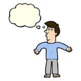 Karikaturmann, der Schultern mit Gedankenblase zuckt Stockbilder