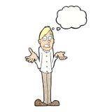 Karikaturmann, der Schultern mit Gedankenblase zuckt Lizenzfreies Stockfoto