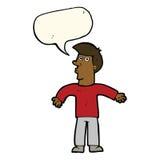 Karikaturmann, der Schultern mit Spracheblase zuckt Lizenzfreies Stockfoto