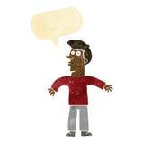 Karikaturmann, der Schultern mit Spracheblase zuckt Lizenzfreie Stockfotos