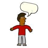 Karikaturmann, der Schultern mit Spracheblase zuckt Lizenzfreie Stockfotografie