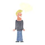 Karikaturmann, der Schultern mit Spracheblase zuckt Lizenzfreies Stockbild