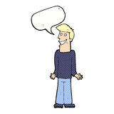Karikaturmann, der Schultern mit Spracheblase zuckt Stockfotografie