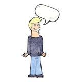 Karikaturmann, der Schultern mit Spracheblase zuckt Stockbild