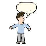 Karikaturmann, der Schultern mit Spracheblase zuckt Stockfoto