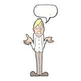 Karikaturmann, der Schultern mit Spracheblase zuckt Lizenzfreie Stockbilder