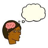 Karikaturmann, der sorgfältig mit Gedankenblase denkt Stockbilder