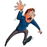 Karikaturmann, der vorwärts läuft und erreicht Stockfotos