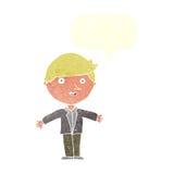 Karikaturmann in der zufälligen Jacke mit Spracheblase Lizenzfreie Stockfotos