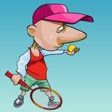 Karikaturmann in einer Kappe mit einer großen Nase spielt Tennis lizenzfreie abbildung