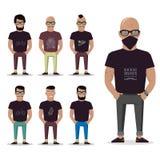 Karikaturmann für Grafikdesign, Website, Social Media, Benutzerschnittstelle, bewegliche APP Mannsatz lokalisiert Lizenzfreie Stockbilder