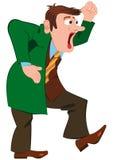 Karikaturmann im grünen Mantel schreiend Stockfotografie