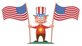 Karikaturmann im patriotischen Hut, der zwei amerikanische Flaggen hält Stockfotografie