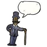 Karikaturmann im Zylinder mit Stock Lizenzfreies Stockfoto