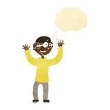Karikaturmann mit Augen, knallend aus Kopf mit Gedankenblase heraus Lizenzfreies Stockfoto