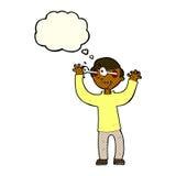 Karikaturmann mit Augen, knallend aus Kopf mit Gedankenblase heraus Stockbilder